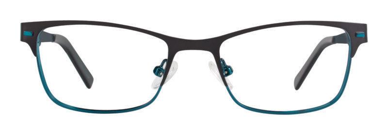 Rocky matte black and teal eyeglass frames