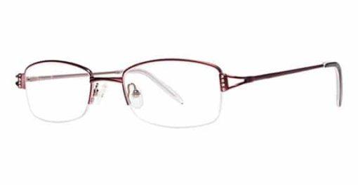San Lorenzo burgundy and light pink eyeglass frames