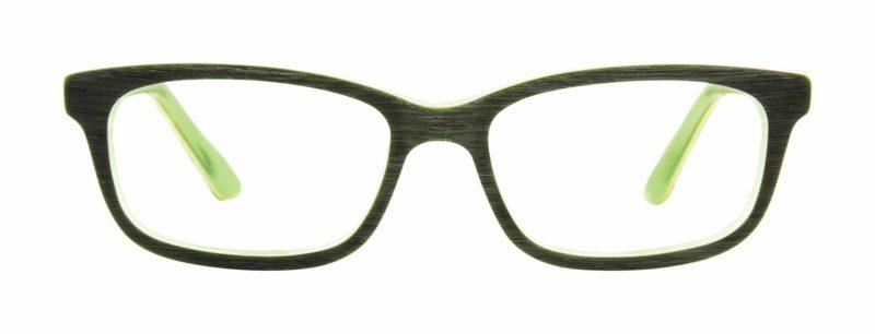Ames black matte and lime eyeglass frames