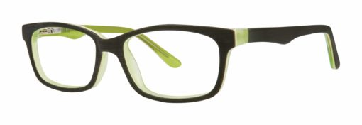 Ames black matte and lime eyeglass frames from side