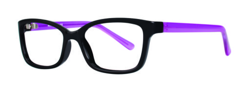 Belding black and plum eyeglass frames from side