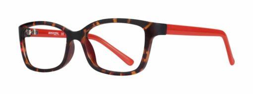 Belding tortoise and red eyeglass frames