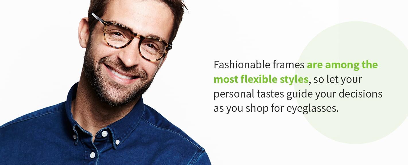 man wearing fashionable eyeglass frames