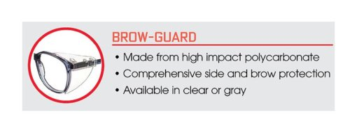High impact polycarbonate brow guard for glasses